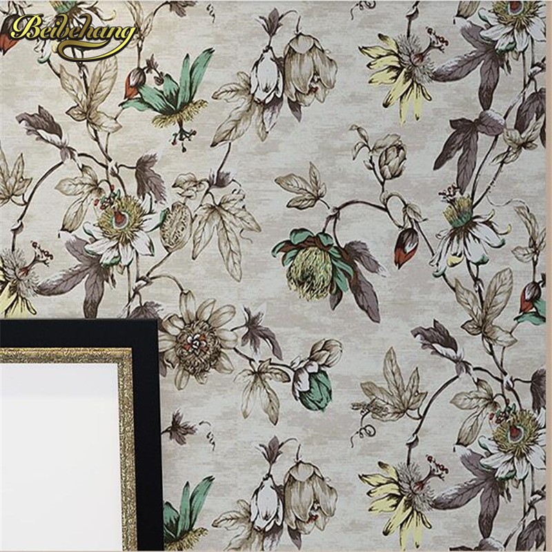 beibehang papel de parede,American country garden flowers vintage wallpaper bedroom living room TV background study non-woven beibehang wall paper pune retro green garden flower american country backdrop environmental non woven wallpaper bedroom living