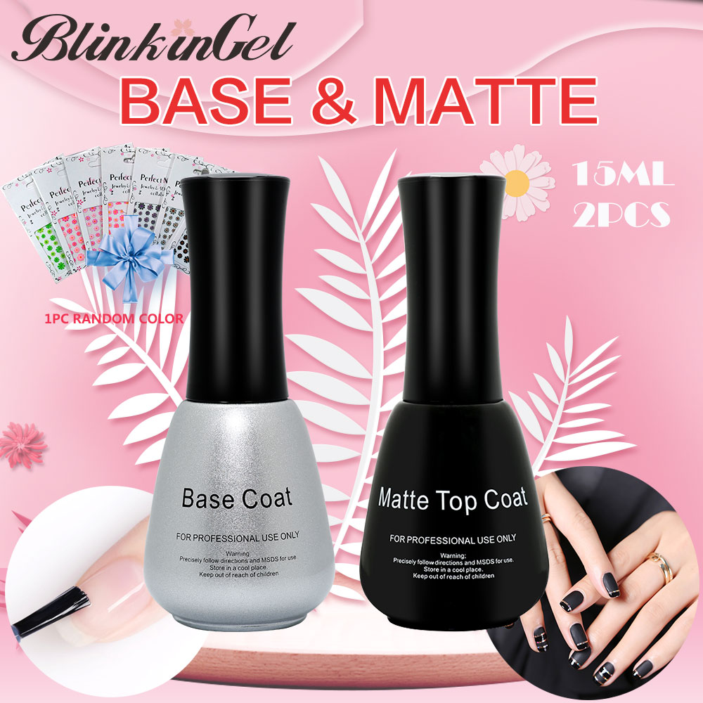 BlinkinGel 2pcs/set Matte Nail Polish Top Coat Nail Mineral Top and Base Gel Varnish Multi-Use Top & Base Coat Gel Nail 15ml