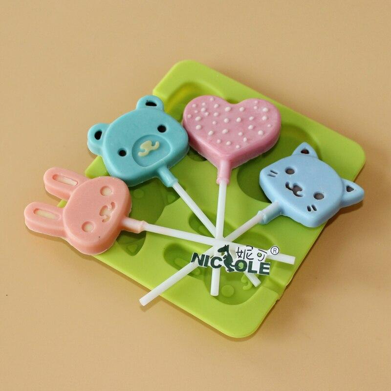 Moulds Cute Lollipop Kafshëve Moulds çokollatë silikoni - Kuzhinë, ngrënie dhe bar - Foto 2