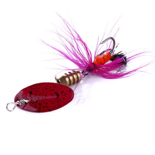 цена на Free Shipping Winter Ice Fishing Lure Spoon Spinner Feather Wings Spinning Lure Sharp Treble Hook Carp Perch Fishing Tackle Bait