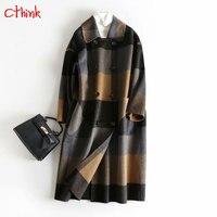 Большой плед зиму Шерстяное пальто Для женщин Винтаж модное двубортное верхняя одежда для женщин глубокий осень плюс Размеры шерстяные Для
