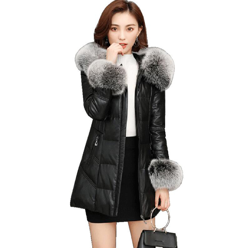 large fox fur collar hooded faux   leather   coats Women Winter Autumn Fashion Jacket Black Outerwear faux   leather   Jacket 2018 Coat