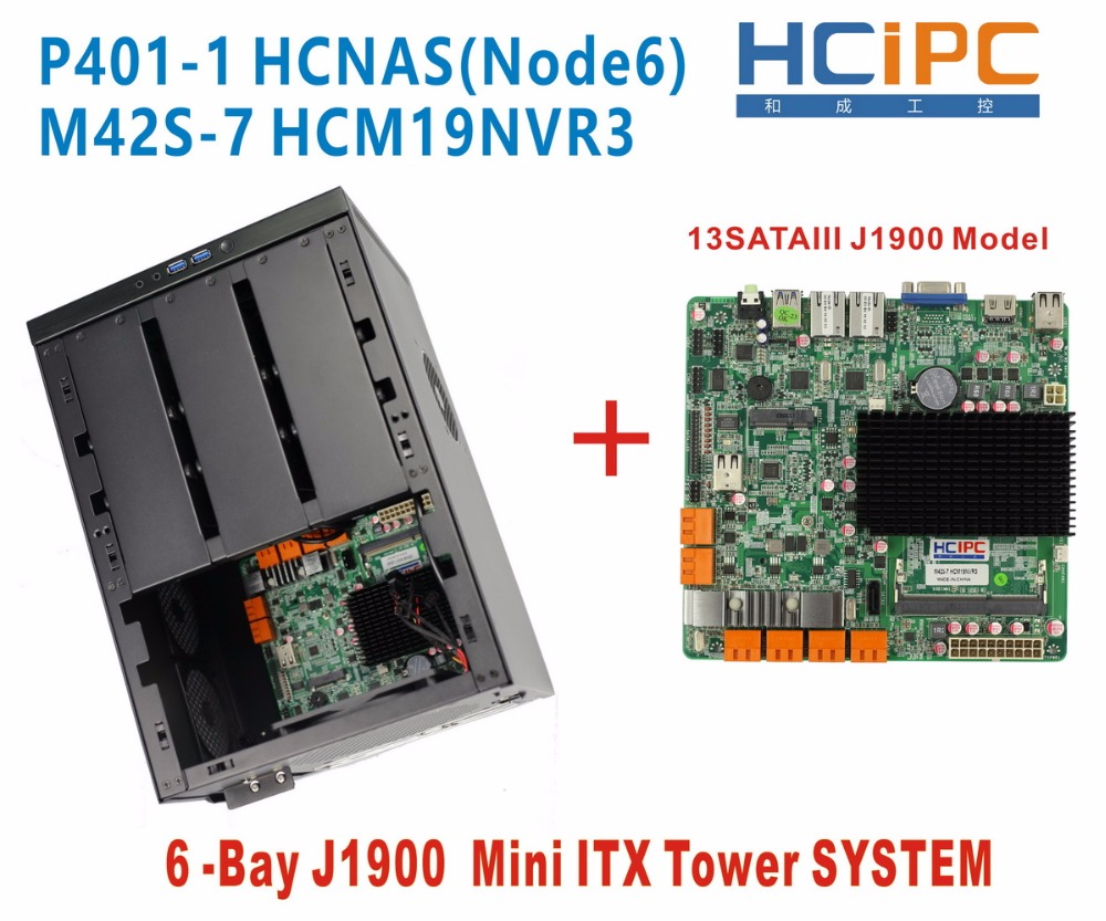 node6 Hcipc J1900 6bay Mini Computer P401-1 Hcnas 6 Stücke 3,5 Oder 2,5 Zoll Hdd Ungleiche Leistung 6bay Nad Hdd Gehäuse Nas Pc J1900 Nas Barebone