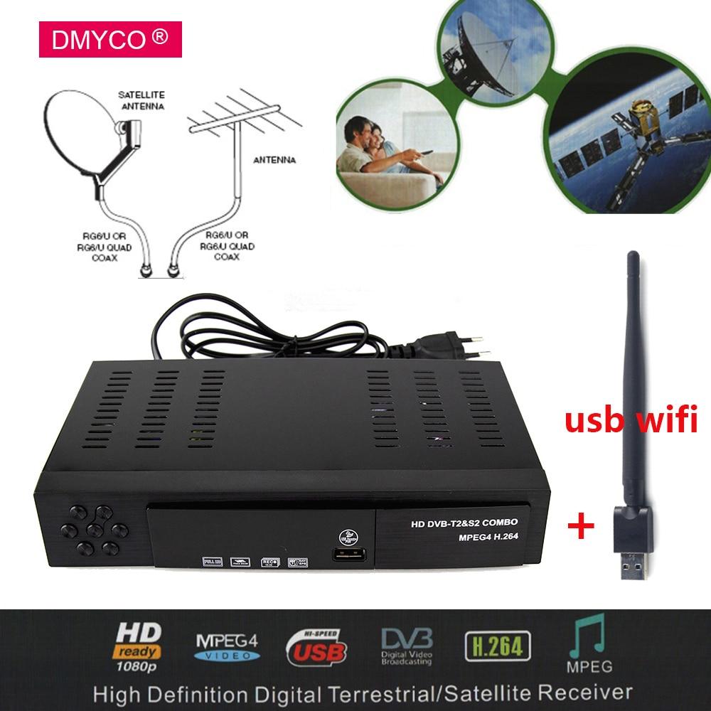 DVB T2 Digital Satellite Receiver HD 1080P DVB S2 LNB Support Youtube Bisskey HD Satellite TV Receiver DVB T2 TV Tuner Receiver