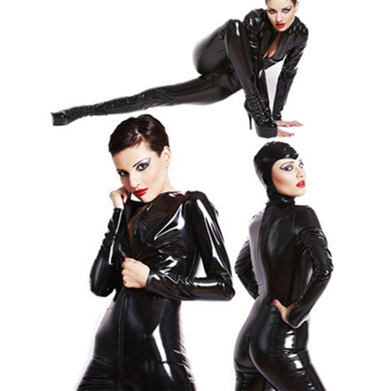 2016 Plus Size XXL Sexy Catwoman Bondage Catsuit Latex Bodysuit Black Faux Leather Stretch PVC Jumpsuit Spider-man Costume