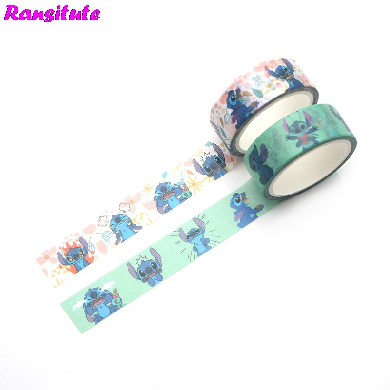Ransitute  2pcs/set Stitch Cartoon Children's Toy Washi Tape Traffic Tape Toy Car Decoration Hand Account Sticker R392