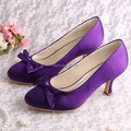 (20 Colors)Purple Shoes Woman Wedding High Heels Satin Pumps Med Heel Size 6