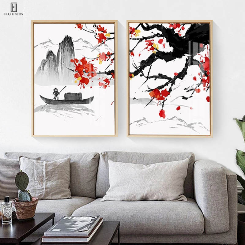 Squint Chinese Mountain&River Landscape Style Unframed Canvas Painting Canvas Wall Posters Art Print For Home Room Decor