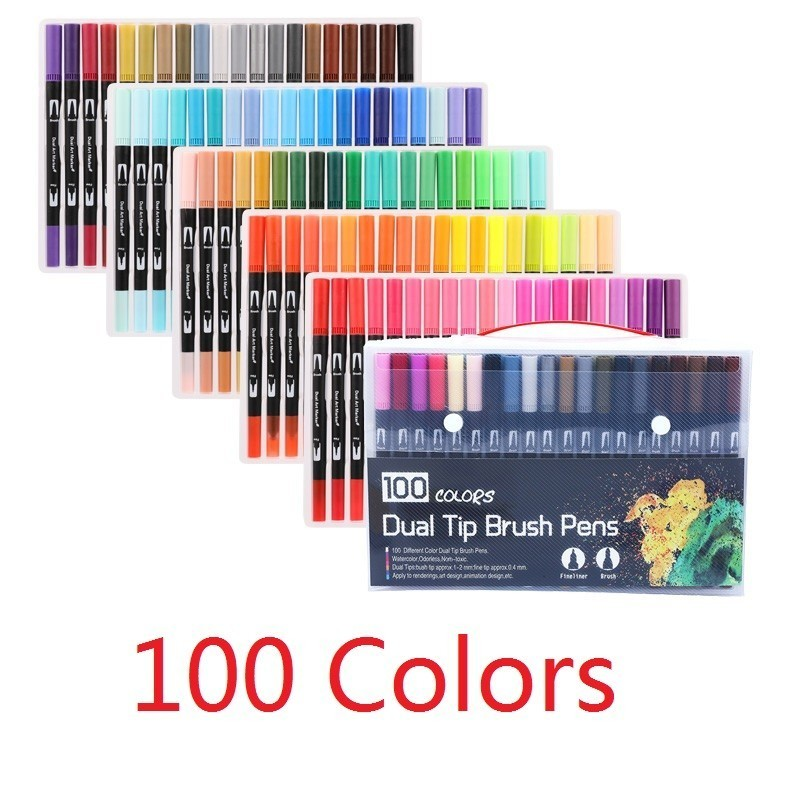 1 Set Colors Fine Liner Drawing Painting Watercolor Markers Pen Art Dual Tip Brush Pen School Supplies Stationery 04350