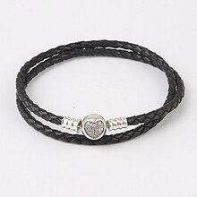 Zmzy 100% plata esterlina 925 clip con circón negro pulsera de cuero genuino para las mujeres joyería de la pulsera diy