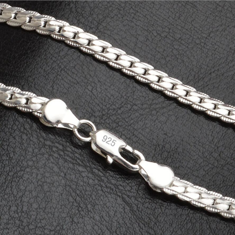 New 925Sterling Solid Silver Men Jewelry 4MM Snake Chain 20 24 Inch Necklace
