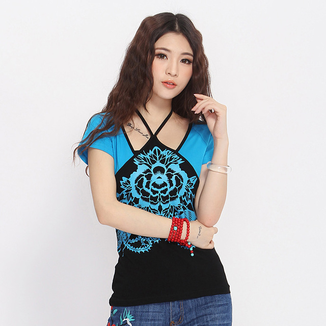 Ethnic t-shirt 2017 Women Girls Mexican Style Vintage Designer O Neck Short Sleeve Blue Red Embroidery Tribe T Shirt Tee Top