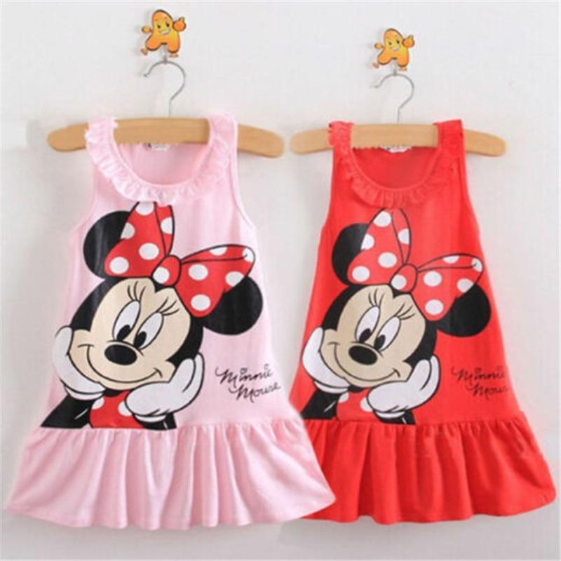 Baby Girls Dress Girls Summer Dress 2019 Cartoon Minnie Mouse Dress Princess Dress 1-6 Years