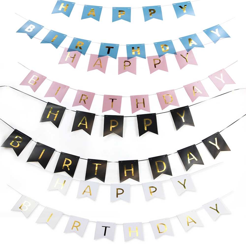 Pink Pastel Happy Birthday Bunting Garland Alphabet Party Hanging Banner