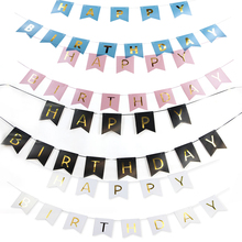 Sunbeauty Happy Birthday Bunting Banner Gold Letters Hanging Garlands Pastel Pink String Flags Baby Shower Favors Party Decor