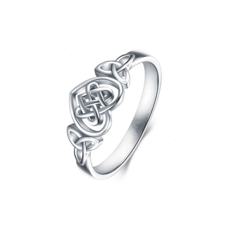 Zhouyang Rings For Women Lady Classic Hollow Out Love Heart Celtic