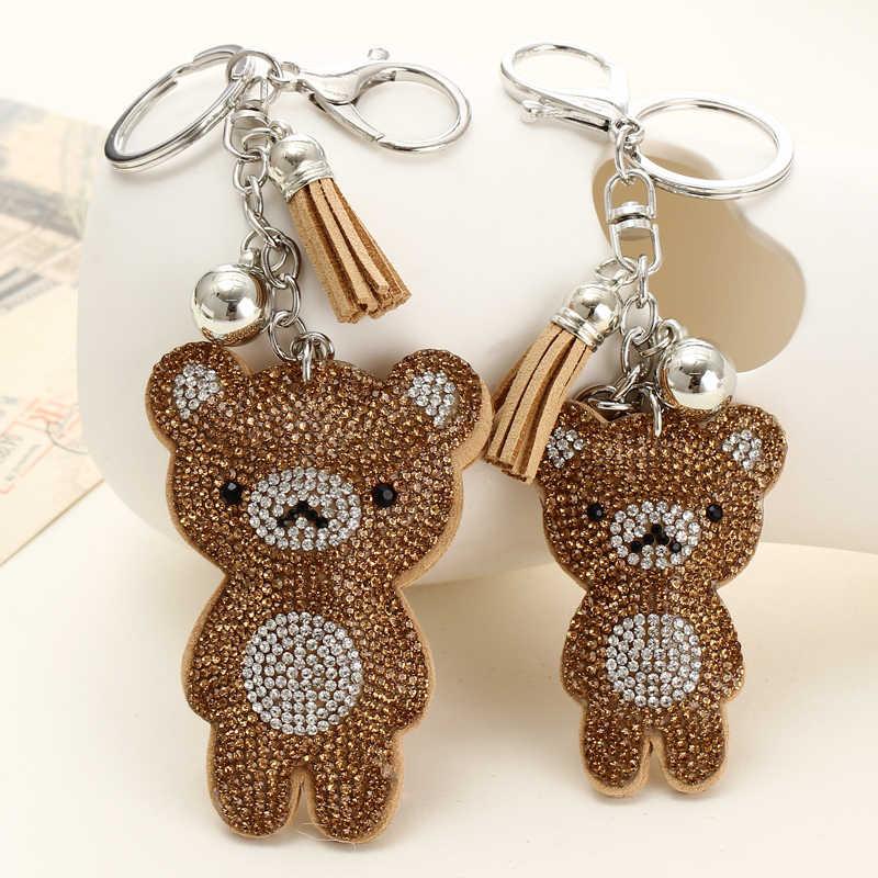 Cute Bear Leather Tassel Keyrings Keychains Full Crystal Rhinestone Beads Silver Car Handbag Pendant Key Chian Ring Holder