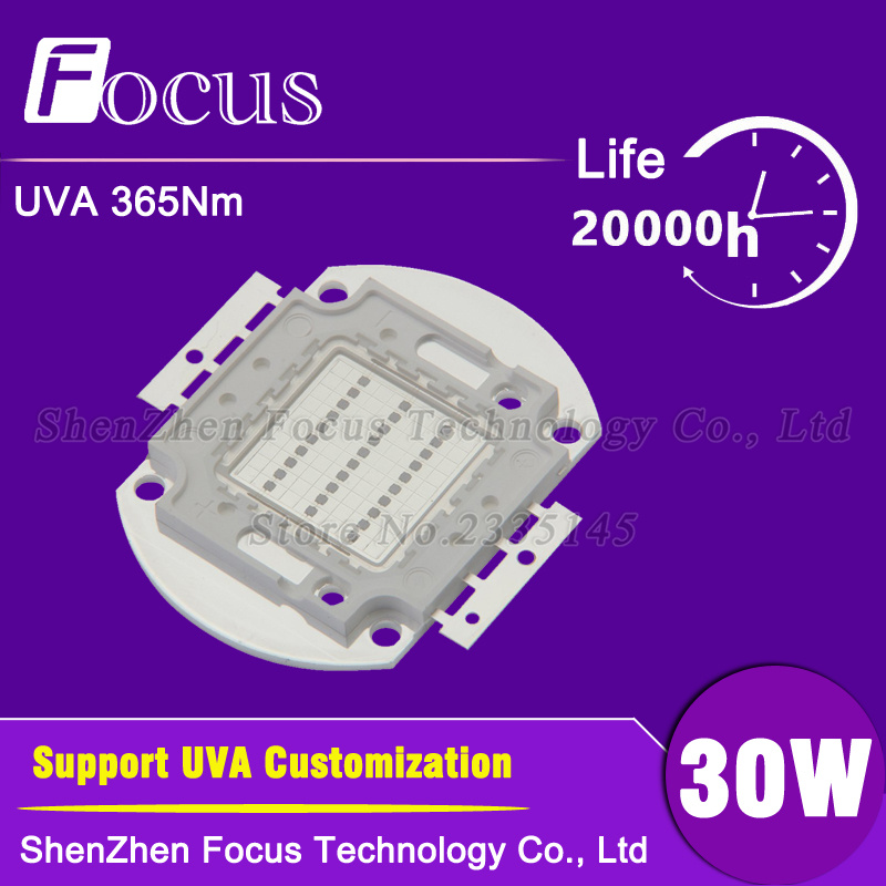 High Power LED Chip 30W UV 365nm 30 Watt Light Beads UVA Purple COB For polymer , ink printing and banknote inspectio high power led chip uv led 390nm lamp 3w 5w 10w 20w 30w 50w 100w ultraviolet purple epileds 45 45mil cob led beads light