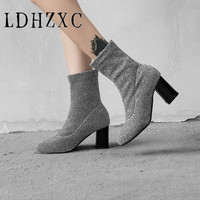 LDHZXC 2019 Women Ankle Boots Sock Boots All Match Pointed Toe Square High Heel Slip on Women Boots Big Size 43 47 48