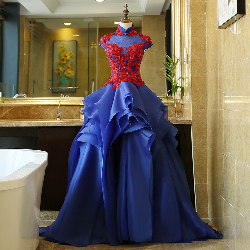100%real royal blue red rhinestone flower embroidery theme court ball gown medieval dressqueen Victorian dress gown Belle Ball