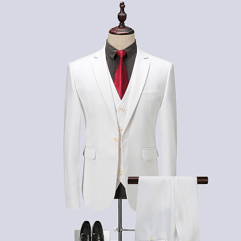 Wedding Suit White Men's Formal 3 Pieces Blazer Vest Pants Casual Men Business Office Suits Fashion Dinner Prom Plus Size 6XL