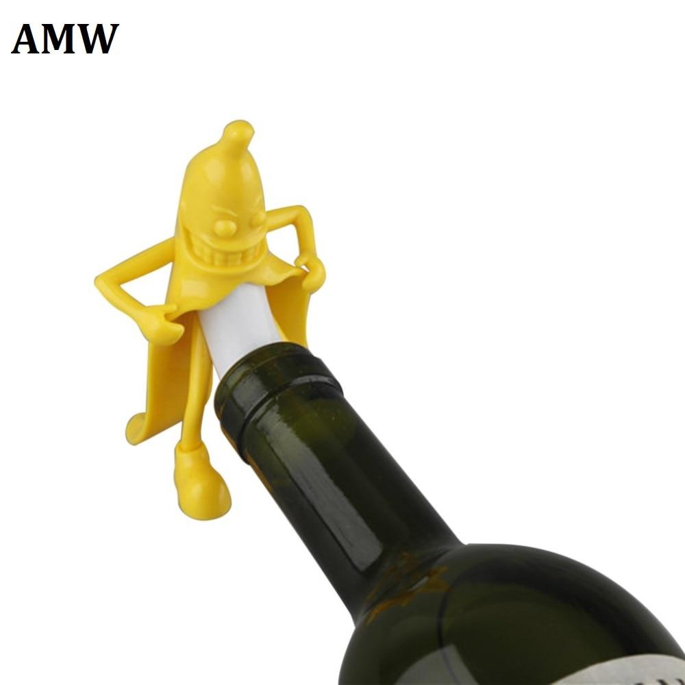 AMW Mr.Banana Soda Wine Bottle Novelty Stopper Corkscrews Bar Tool Wine Beer Bottle Cork Stopper Bar Novely Interesting Gift