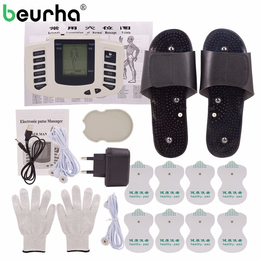 Russian/English Button Electrical Muscle Stimulator Slimming Massager Pulse Tens Acupuncture Machine + Slippers +16Pads + Gloves hot electric slimming full body relax pulse muscle stimulator tens therapy machine massager vibrateur with 20pcs tens pads