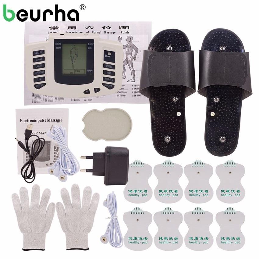 Russisch/Englisch Taste Elektrische Muscle Stimulator Abnehmen Massager Impuls Akupunktur Maschine + Hausschuhe + 16 Pads + Handschuhe