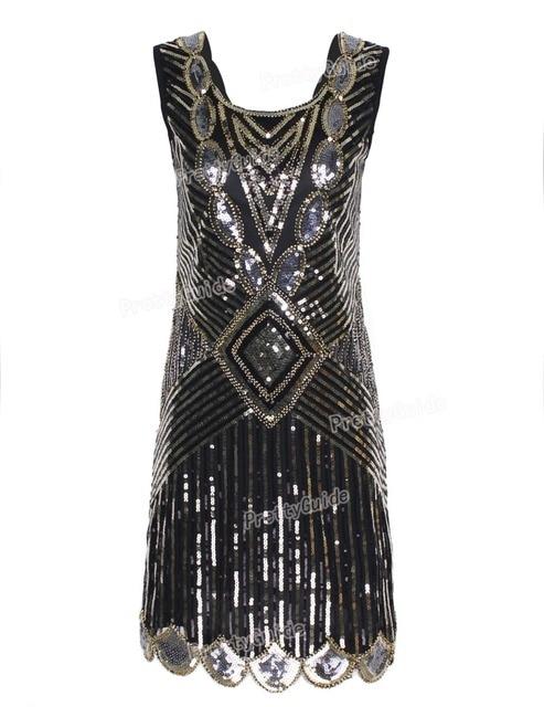PrettyGuide Mujeres 1920 s Gatsby Flapper Lentejuela Art Deco Dobladillo Festoneado V Profundo Volver Inspirado Vestido Roaring 20 s