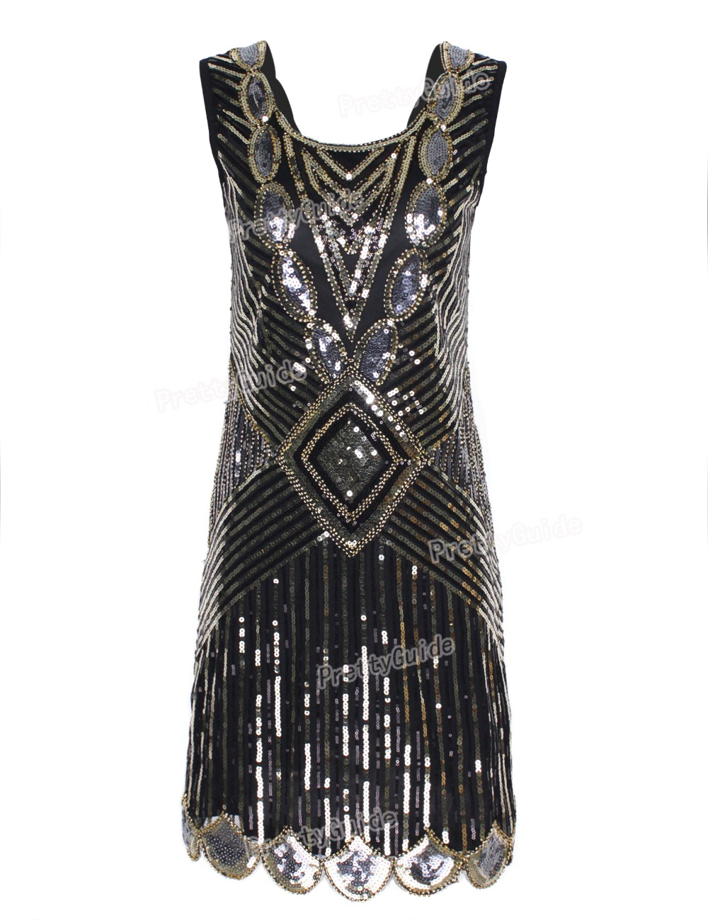... Hem Deep V Back Inspired Flapper Dress Roaring 20s(China (Mainland