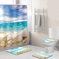1Set 3Pcs Bath Mats Seaside beach Anti Slip Toilet Pattern Carpet+1Pcs Waterproof Bathroom Beach Shower Bathroom Curtain
