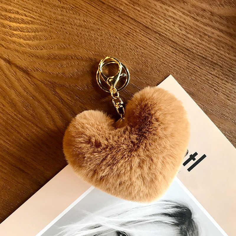 น่ารักปุย PomPom Keychain รถเทียมกระต่ายขน POM Poms Ball จี้รูปหัวใจผู้ถือ Keyring Charm กระเป๋าของขวัญ