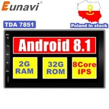 """Eunavi 2 Din Octa core 7 """"Android 8.1 2din New Universal Car Radio Doppio din Stereo di GPS di Navigazione In dash Pc Video WIFI USB"""