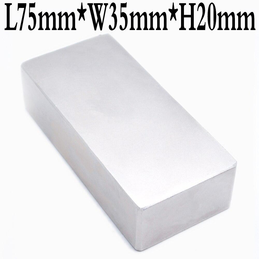 2 pièces Bloc 75X35X20mm Super Fort de haute qualité aimants de Terre Rare Néodyme Aimant 75*35*20mm 75X35X20mm