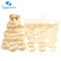 Sapphire Hair Extensions Body Wave 613 Blonde Human Hair Bundles With Closure 3 Bundles With 13x4