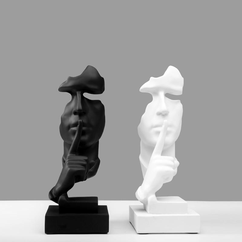 Скандинавском стиле смолы черный и белый Silent статуи Slience золото скульптуры фигурка подражать Античный Декор дома украшения