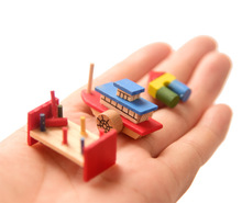 Doll House Mini Furniture Beauty Knot Pig Color Ship Toy Block Knock Model Children DIY Toys Gift
