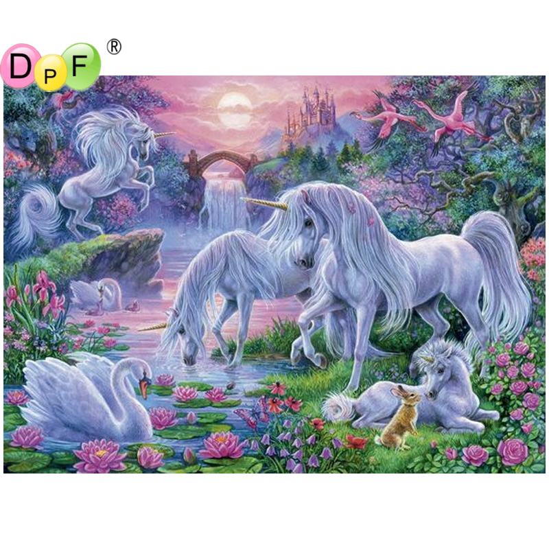 DPF DIY White horses 5D wall painting diamond painting cross stitch diamond embroidery mosaic kit full square crafts home decor