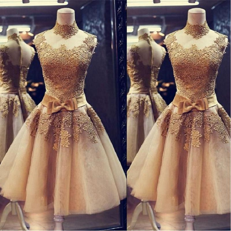 Short Gold Lace   Cocktail     Dresses   2019 Robe   Cocktail   A Line Sexy Mini sukienki koktajlowe Prom   Dress   Gilrs Party Gowns