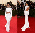 2016 Rihanna Celebrity Dresses White Sexy Two-Piece Long Mermaid High Collar Crystals Backless Red Carpet Evening Gowns