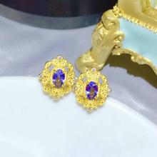 shilovem 925 silver sterling natural tanzanite stud earrings trendy fine Jewelry women new gift  plant party  xhfe0406105agts цена