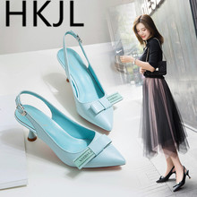 HKJL Spring 2019 Korean bow cat with belt buckle high heel sandals for women summer thin pointed baotou shoes A439