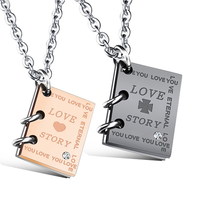 """Love Story"" Book Style Pendant"