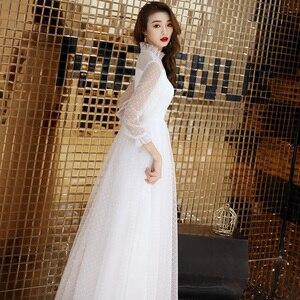 Image 3 - Seksi beyaz tül uzun abiye Vintage Polka Dot uzun kollu See Through akşam partisi törenlerinde zarif resmi kıyafeti yeni Arriva