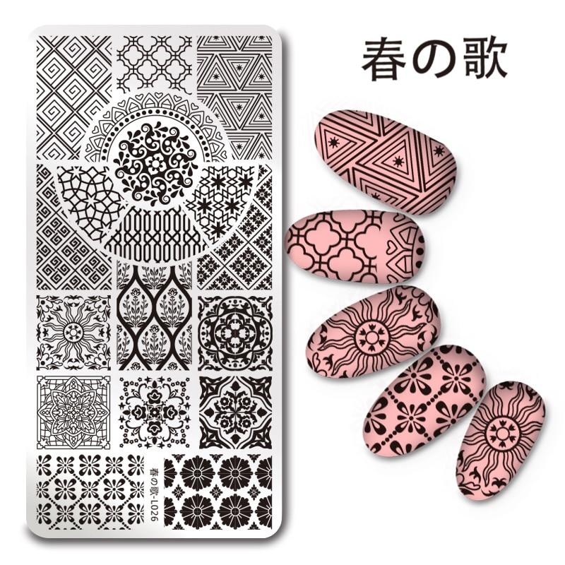 1 Pc Harunouta Rectangle Stamping Plate European Flower Pattern font b Nail b font font b
