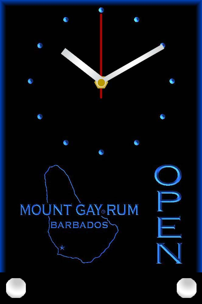 Tnc0026 Mount Gay Rum Barbados OPEN Bar Table Desk 3D LED Clock