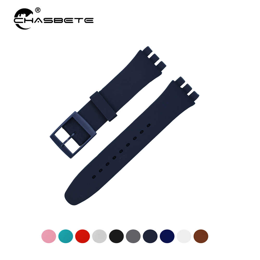 Rubber Silicone Watch Band 16mm 17mm 19mm 20mm for Swatch Women Men Loop Strap Wrist Belt Bracelet Black White Blue Pink Green