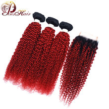 Malaysian Kinky Curly Hair Burgundy Bundles With Closure Ombre T1B Red 3 Bundles With Closure Human Hair Weft Extensions Nonremy(China)