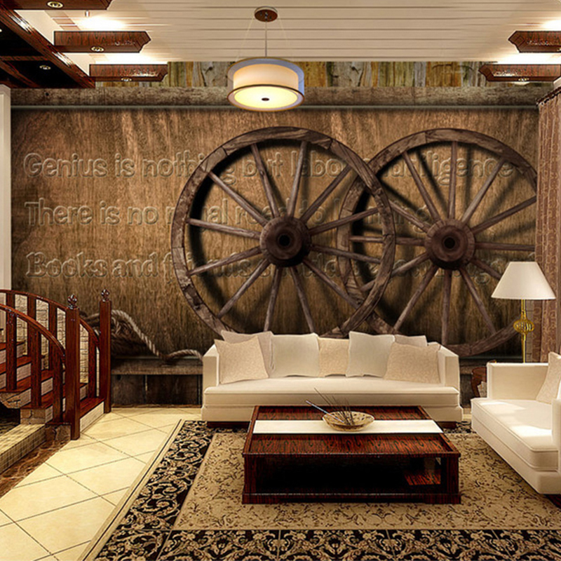 European Style Retro Wooden Wheel Background Wall 3D Mural Wallpaper Cafe Living Room Modern Vintage Decor Photo Wallpaper Roll