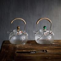 650ml criativo boutique japonês engrossar vidro resistente ao calor bule de chá casa flor chaleira do escritório drinkware|Bules|   -